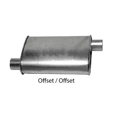 "Turbo Muffler 2.50"" Dia Offset Inlet 2.50"" Dia Offset Outlet 4.00 X 9.00"" Oval 1"