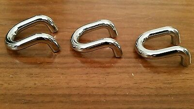 Lot of 3 mid century modern chrome Curved U pulls cabinet drawer handles
