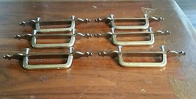 Lot of 6 Antique Vintage Brass Handles Pulls Drawer Cabinet 2 Pc. W/Backplates