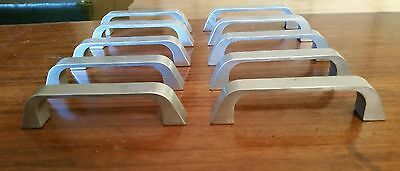 Lot 10 vintage Mid Century Modern or Deco Pulls Handles Brushed Silver Finish