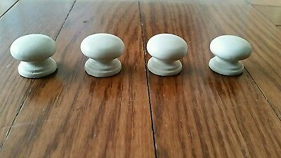 Lot of 4 Vintage White Wood Painted Drawer Cabinet Knobs Pulls Handles