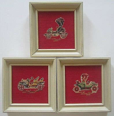 Set of 3 Fine Needlepoint Depictions of Vintage Vehicles