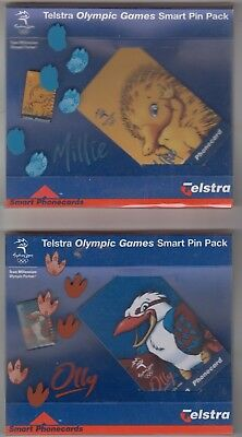 Olympic Games Sydney Australia 2000 set 3 Mascot pins phonecards Olly Millie Syd
