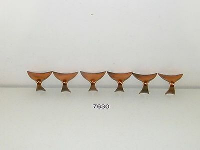 6 Vintage Mid Century Drawer Pulls Cabinet Handles Copper Hardware New Old Stock