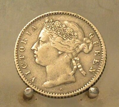 1876 H Straits Settlements Silver 10 Cents, Old World Silver Coin, Better Date