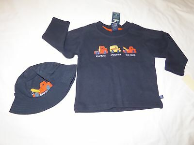NWT Boys 12-18 Months OSHKOSH Navy Blue Sweater Shirt + Matching Hat w/ Trucks