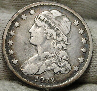 1838 Capped Bust Quarter 25 Cents - Key Date only 366,000 minted. (5309)