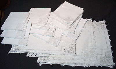 Antique Italian Placemats + Nakins Set Of 20 Pointe De Venise Lace Needlelace