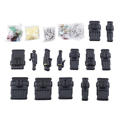 Mixed 1/2/3/4/5/6 Pin Way Car Waterproof Electrical Sealed Connector + Fuses Kit