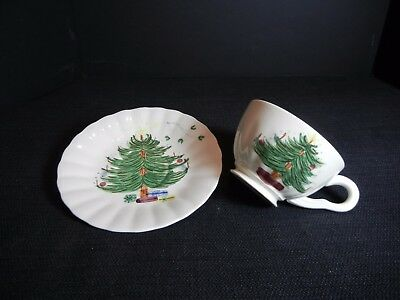"SPI Blue Ridge:  Holiday ""Christmas Tree with Mistletoe"" Cup & Saucer (8581)"