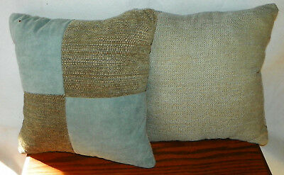 Pair Of Blue Brown Beige Patchwork Decorative Throw Pillows 15 X 15