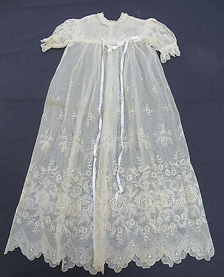 Vtg Antique Clothes Embroidered OLD LACE Christening Dress & Satin Petticoat