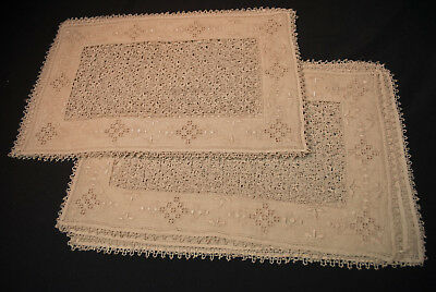 Antique Italian Reticella Lace Placemats  Ecru Set Of 12