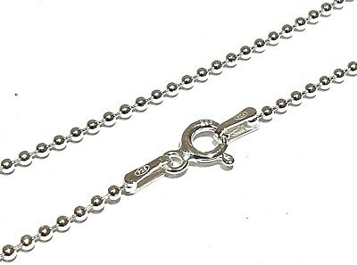 SOLID GENUINE 925 STERLING SILVER BALL BEAD CHAIN NECKLACE - 1.2mm - VARIOUS