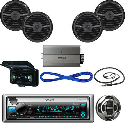 Kenwood Yacht Receiver, Wired Remote, Speakers, Amplifier, Wire, Antenna, Cover