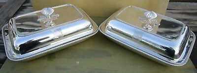 Fine pair Antique Georgian Sterling silver entree dishes,1805,Crested,John Robin
