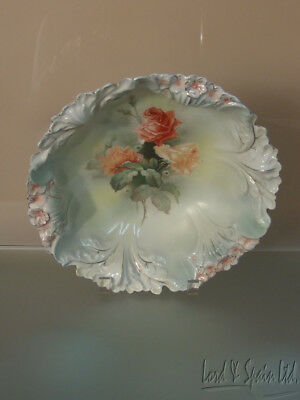 "Vintage Royal Bayreuth Orange & Yellow Roses 10 1/2"" Bowl"