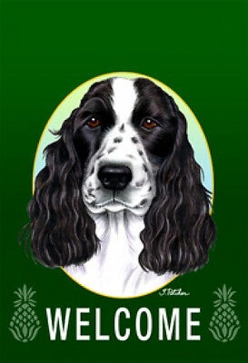 Large Indoor/Outdoor Welcome Flag (Green) - English Cocker Spaniel 74113