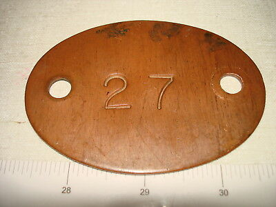 Antique Heavy Copper Mine Miner Mining ID Checkout Tag #27 NR