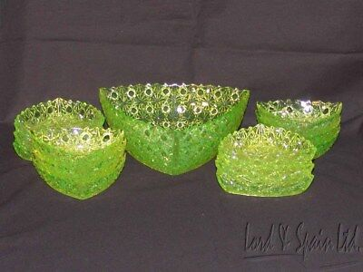 EAPG Gillinder DAISY & BUTTON W/THIN BARS Vaseline/Canary 13 Pc Berry Bowl Set
