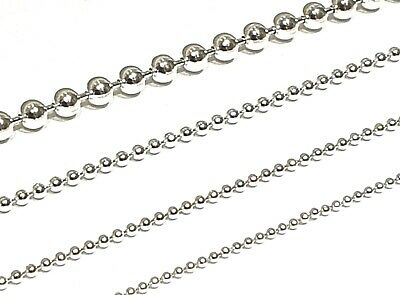 925 Sterling Silver Solid Ball Necklace - Various Lengths And Guages Available