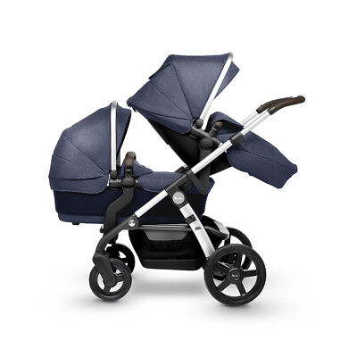 Silver Cross Wave Midnight Navy Single/Double Pram Pushchair Tandem Twins