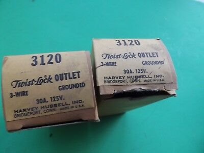 2 New Old Stock Hubbell 3120 Twist Lock Receptacles 30A 125V 3 Wire Free Ship