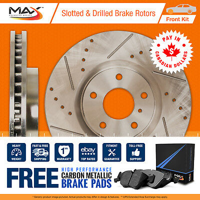 2012 2013 Toyota Matrix 2.4L Slotted Drilled Rotor Metallic Pads Front