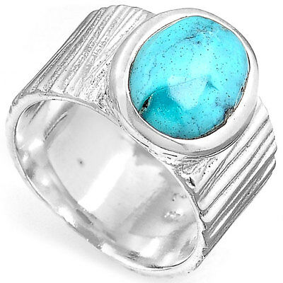 Solid 925 Sterling Silver Ring Turquoise Gemstone Size 6 Wide Band Jewelry