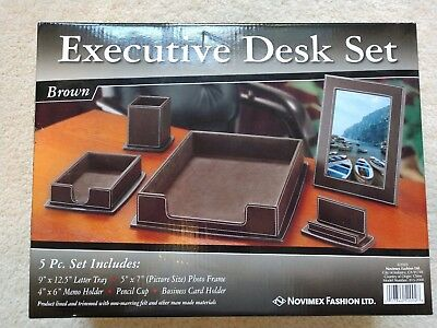 Executive desk set Brown 5 piece set letter tray photo frame memo holder pencil