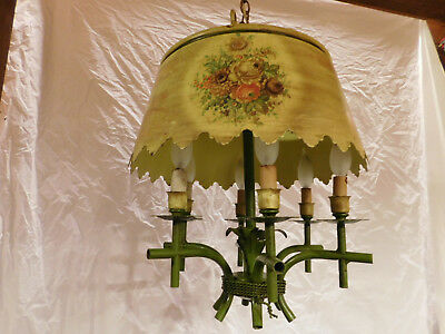 antique regency french faux bamboo ceiling fixture chandelier lamp tole vintage