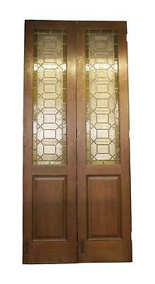 Stained Glass Medium Oak Wood Doors
