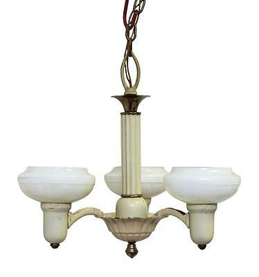 Three Arm Tan Brass Vintage Chandelier with Glass Shades