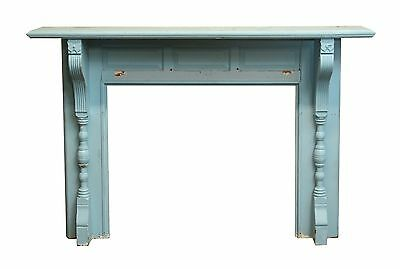 Antique Blue Wooden Mantel with Butterfly Detail