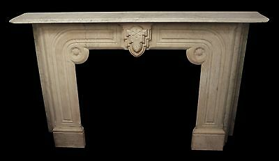 19th Century Carved White Marble Mantel