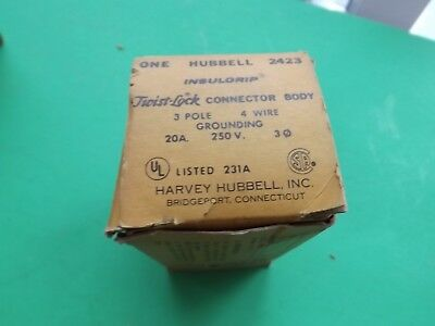 New Old Stock Hubbell 2423 3-pole 4-wire  20A/250V Twist-Lock Connector HBL2423