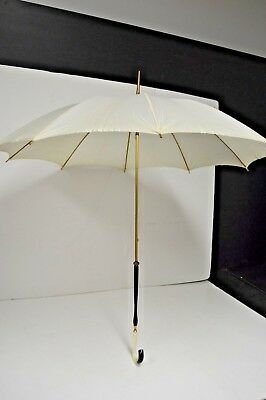 Vintage 1960's Parasol Umbrella with Decorative Lucite Handle and Brass Shaft