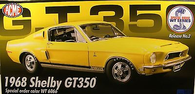 Wt6066 Yellow 1968 Ford Shelby Gt350 Mustang Acme 1:18 Scale Diecast Metal Car