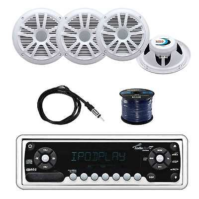 Audiopipe Marine Stereo w/Boss 180W Speakers, Enrock Antenna and Speaker Wire