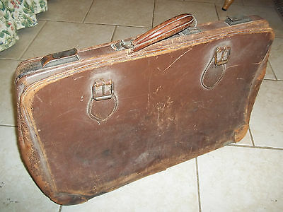 1920's Vintage Peerless Luggage Suitcase Leather Brass Hardware PROP Antique