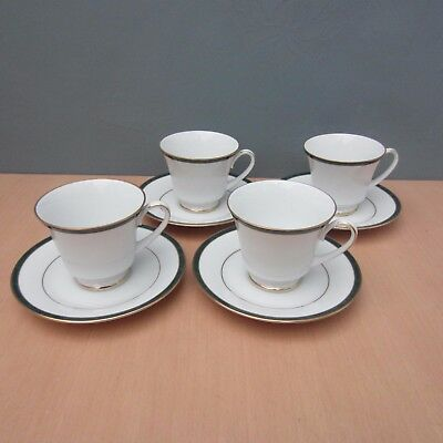 """4 Boots Fine China """"hanover Green"""" Cups And Saucers"""