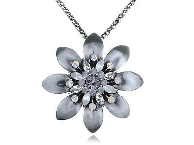 Gorgeous Silver Tone Clear Crystal Rhinestone Open Sunflower Pendant Necklace