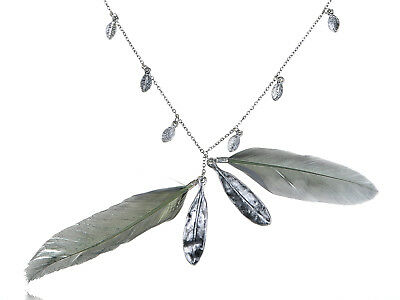 Fashionable Fun Long Silver Tone Two Light Faux Feather Pendant Necklace Jewelry