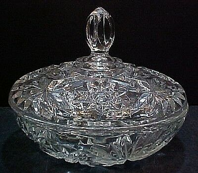 Anchor Hocking EAPC Star of David clear glass covered serving bowl FREE S/H