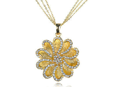 Gorgeous Gold Tone Clear Crystal Rhinestone Daisy Flower Pendant Necklace Gifts