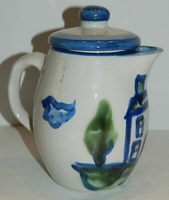 M. A. Hadley Country Scene Small Covered Pitcher / Coffee Pot