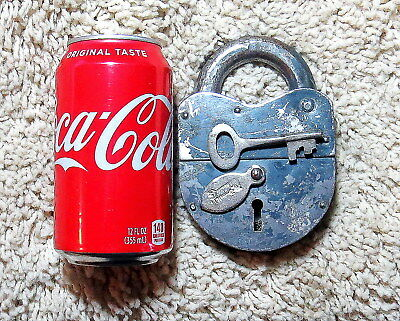 Very Large Heavy Russian Padlock Vintage Steel Double Throw Has Key