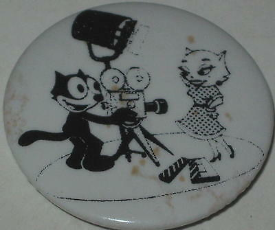 Felix the Cat Film Director w/ His Girlfriend Movie Star Kitty Pin 1.75""