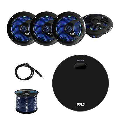 "Pyle MP3 Bluetooth Receiver w/Pyle 6.5"" Speakers, Marine Antenna & Enrock Wire"