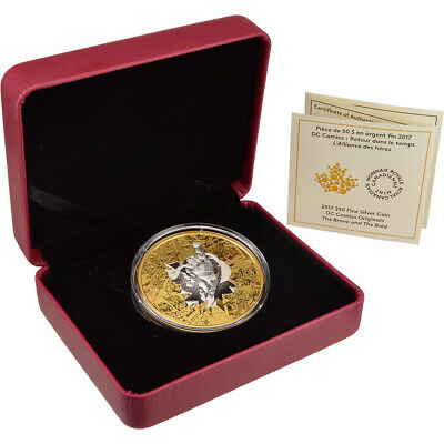 2017 Canada Silver (3 oz) DC Comic Superman Reverse Gold Plated Proof $50 in OGP